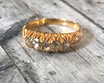 18K Antique Rose Cut Diamond Band