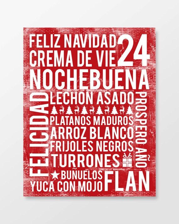 Noche Buena Poster - Feliz Navidad Poster - Word Art - Cherry Red - Various Sizes