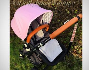 Custom pink hood canopy for Bugaboo Cameleon 1,2,3 - grey chevron lined
