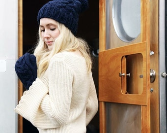 Cable Knit Wool Hat and Mitten Set | Wheat