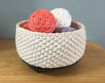 ORGANIC COTTON crochet storage basket bowl handmade-cotton yarn crocheted bathroom nursery baby storage-storage bin-handmade-crochet bin