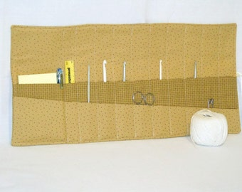quilted hook case, crochet tool roll, crochet hook holder, crochet hook roll, pale coffee cotton fabric