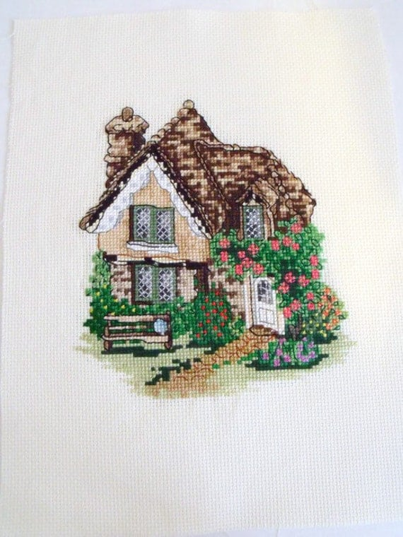 thatched cottage cross stitch picture, house counted cross stitch to frame, wall art, embroidered picture