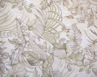 Waverly Paradise Island pattern textured cotton with natural earth tones light olive green and cream leaf and fern pattern