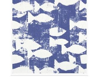 New Prestigious Textiles curtain interior furnishing fabric Geometric Fish Design Indigo Blue ideal for Cushion covers, crafts