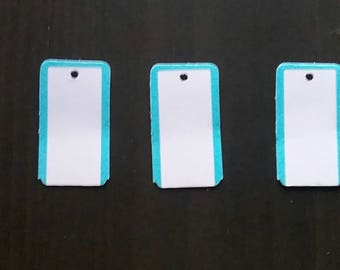 100 White with blue border gift tags Price tags rectangular price tags