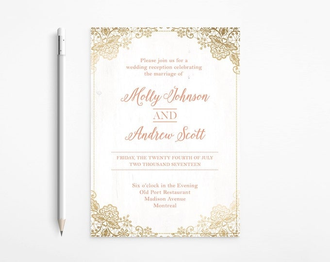 PRINTABLE - Romantic wedding Invitation - coral - gold - foil - lace - ivory - shabby chic glamour