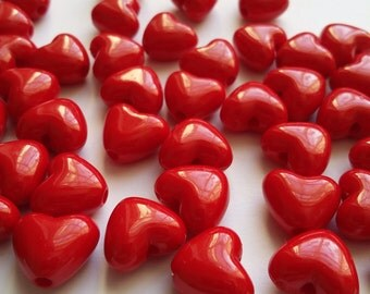 50pcs Red Heart Beads - Acrylic Beads - Plastic Beads - Craft Supplies - Craft Beads - Jewelry Making Supplies - B22421