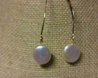 14K Gold Filled Coin Pearl Drop Earrings ~ Sterling Silver Coin Pearl Drop Earrings NBJ533 ~Rose Gold Filled Coing Pearl Earrings
