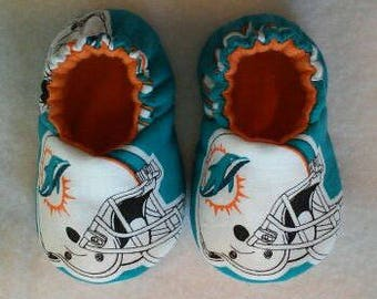 Miami Dolphins baby shoes, baby slippers, baby booties, crib shoes