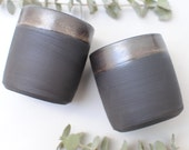 Nightfall Collection - Black Ceramic Stoneware Metallic Cup