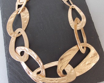 Chunky Gold Abstract Chain Statement Necklace