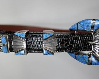 "Vintage Belt Buckle Hand Made Signed 925 Sterling Silver Lapis Lazuli Onyx in 32"" Black Lizard Leather Belt Mens or Ladies c1980s"