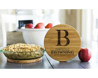 Personalized Solid Bamboo Trivets - 4 Trivets - Browning Style