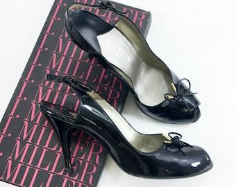 50s Size 8.5 Black Patent Heels | Sling-Back Heels | I. Miller