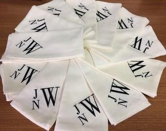 Custom Order of 3 letter monogrammed Cloth Napkins