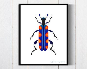 Printable Bugs Poster, Insect Print, Insect Poster, Beetle Bug Art, Beetle Insect Art, Bugs Print, Bugs Poster, Nursery Poster, Baby Shower