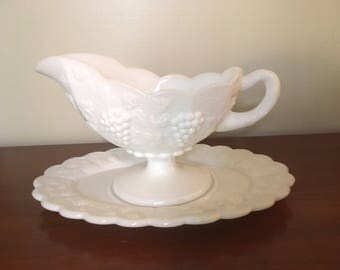 Vintage White Milk Glass Gravy Boat and Platter Grape Pattern by Westmoreland 1960s M829