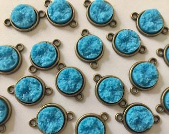 Ocean Blue Druzy Beads with 2 Holes, Faux Druzy Connector Beads, blue druzy, druzy bracelet, druzy bangle, blue bracelet, gold