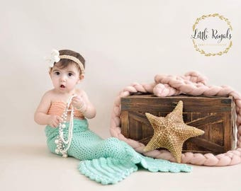 Crochet Mermaid tail with Top and Starfish headband, 3 PC Crochet mermaid tail for babies and toddlers, Crochet Mermaid tail photo prop,