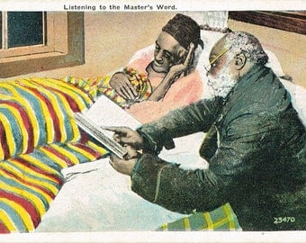 Vintage African American Historical Post Card Image-Listening to the Masters Word