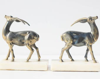 Vinitge French,Marble Book ends  Antelopes ,animals,home decor