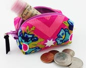 change purse – pink and aqua – keychain coin purse – lip balm holder – coin purse keychain – zipper pouch – coin purse