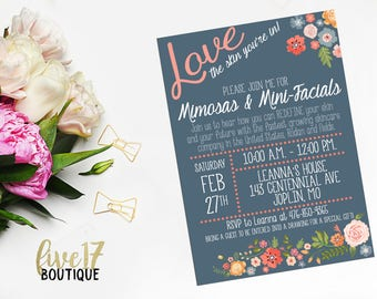 Rodan and Fields Invitation | Spring | Garden Party | Mimosas & Mini-Facials | Personalized | Digital
