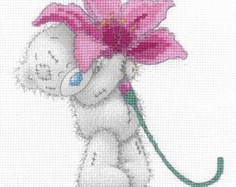 DMC BL1142/72 Pink Lily Tatty Teddy Printed Cross Stitch Kit
