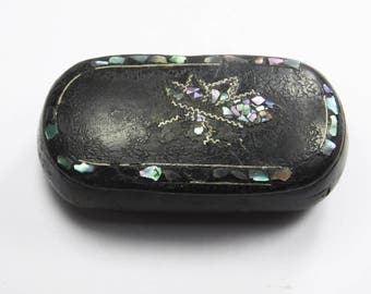 Antique Victorian papier mache snuff box inlaid with fine mother of pearl detail black lacquer lacquered rounded oval
