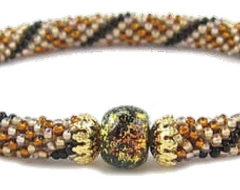50 OFF Gold Dichroic Bead Crochet Bracelet Kit by Ann Benson