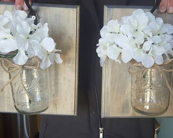 Rustic home decor, home and living,set of 2 hanging mason jars with hydrangeas, mason jar decor
