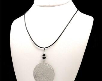 October birthstone jewelry, black tourmaline pendant necklace, folk jewelry necklace, libra birthstone necklace, contemporary jewelry cyl