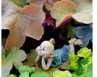 Fairy Garden  - Pixie In Thought - Miniature