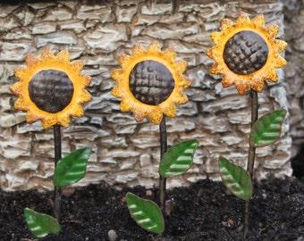 Fairy Garden  - Sunflower Picks - Set of 3 - Miniature