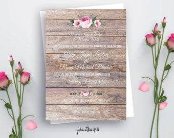 Digital Printable Floral Rustic Nature Wedding Invitation - Ready to Print PDF