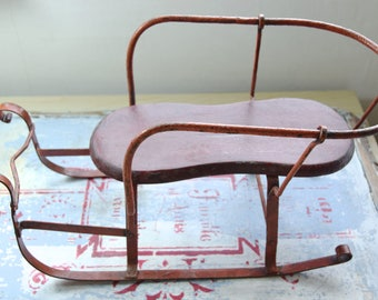 Vintage sled toy / mini sled toy / steel sled toy / snow sled / small sled / old toy / old sled /
