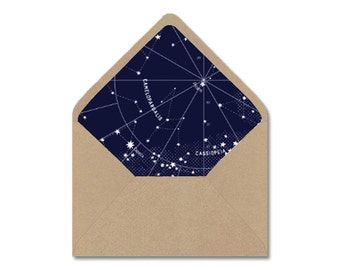 DIY Printable Envelope Liner Template - Navy & White Astrological Constellation Star Map - Instant Digital Download - Sizes: A2, A7, 4 Bar