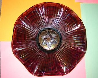 Carnival glass bowl Star of David Imperial glass