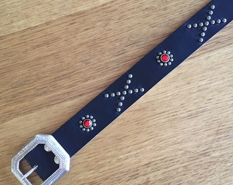 "Black Leather rockabilly studded western belt ""crossroad"""