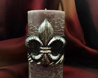 Fleur De Lis Grey Zebra Bling Decorative Pillar Candle, Fleur De Lis Embellishment, Single Wick Candle Home Decor