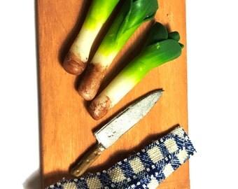3 Artisan Leeks ~ Miniature Food ~ Dolls House Miniatures