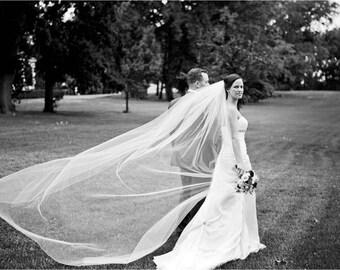 Royal Wedding Veil, Long Wedding Veil, Royal Length Veil , Regal Veil, Single Layer Veil, Ivory Cathedral Veil, White Ivory Blush Champagne