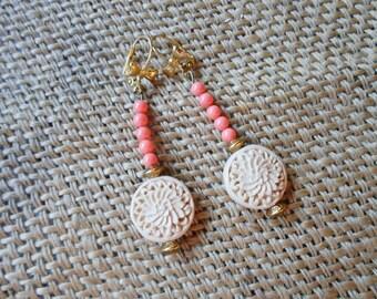 Cinnabar & rose coral earrings