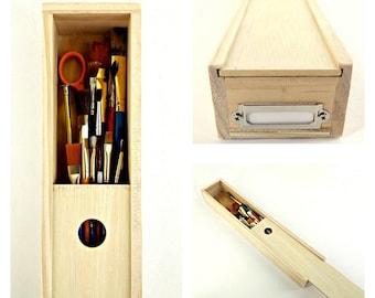 Made to Order: Long Wooden Pencil Case, Paintbrush Box, Slide Top Storage Box, Knife Gift Box, Long Wand Box, Craft Supply Organization Box