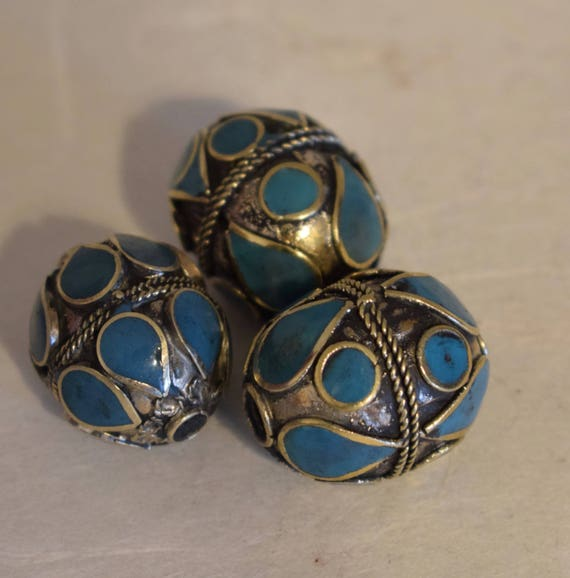 Beads Middle Eastern Turquoise Oval Brass Round Beads Handmade Handcrafted 3 Lot Turquoise Beads Brass Crafts Jewelry Beads