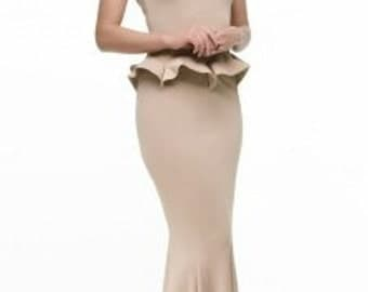 Elegant dress floor  Long beige dress Dress Basques Occasion Dress Wedding evening dress Maxi Prom dress sleeves