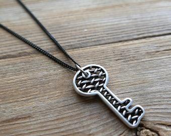 Men's Necklace - Men's Black Necklace - Men's Key Necklace - Men's Jewelry - Men's Gift - Boyfriend Gift - Husband Gift - Guys Necklace