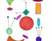 Handpainted Original Art - Mid Century Modern Atomic Art / Geometric Shapes / Circles and Triangles / Atomic Symbol