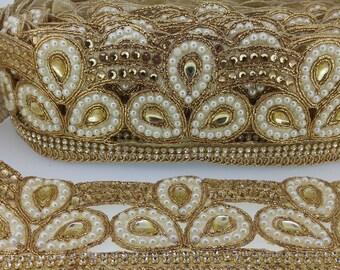 Fancy Cut Work Diamante Pearls Beaded Gold Indian Lace Trim 6 cm wide Ethnic Ribbon Craft Wedding Sari Border. Trim by 1 Yard